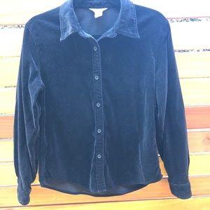 Vintage J Crew Velvet Button Down Shirt Black